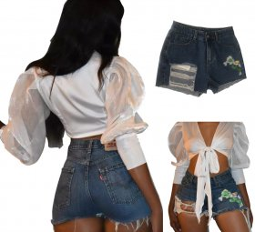 Wear high waist wash high elastic embroidered sexy jeans shorts