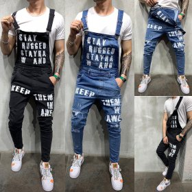 Men Denim Carpenter Overalls Casual Pants Loose Pants Bib Pants Men's Fashion Hip Hop Jumpsuit Hole Pants distressed jeans