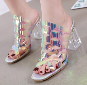 High-heeled fishmouth in crystal thick-heeled transparent rubber slippers