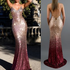 Sexy V-necktie sequins gradient dress