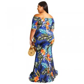 Sexy figure-shoulder digital printing dress with large size