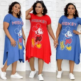 2019 Side Mickey Cartoon Printed Irregular Commuter Large Size Dress Short Sleeve O Neck Loose Women Knee Length Dress