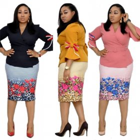 3 Colors office lady 2 piece dress v neck three quarter sleeve tops and knee length printed skirts summer outfits