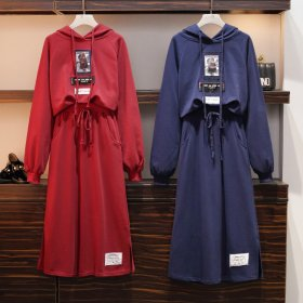 Two sets of hoodies, sweaters and half-length skirts