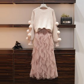 Westernized sweater, knitted sweater, net yarn skirt, two-piece suit