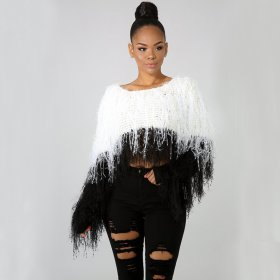 Fashion fringed knitted pullover