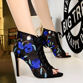Sexy slim high heel mesh hollow lace flower embroidery line with fishmouth sandals