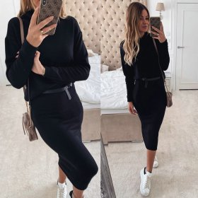 Sexy high-collar hip-and-waist dress