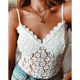 Lace-printed women's bosom lace hollow one-piece garment