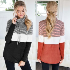 Coloured long-sleeved jacket with loose Pullover and high collar
