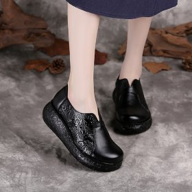 Ethnic style single shoe retro round head slope heel women's leather shoes