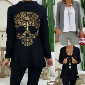 Sexy long sleeve jacket with waist collar and skull print