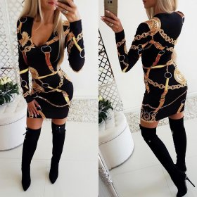 Sexy V-collar printed waistband hip dress