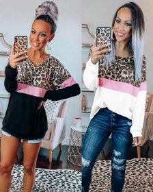 Fashion Coloured Leopard-print Round-collar Long Sleeves