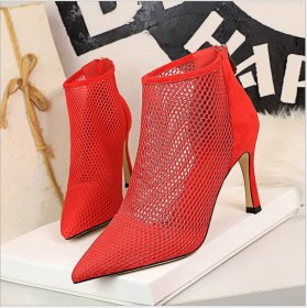 Sexy Night Shop Slender High-heeled Suede Point Banquet High-heeled Shoes Mesh Hollow Shoes