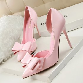 Sweet bow high heel slim heel, high heel, shallow pointed side hollow single shoe