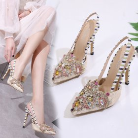 Water diamond sweet high heel sandals sexy elegant fashionable shallow-mouthed women's shoes