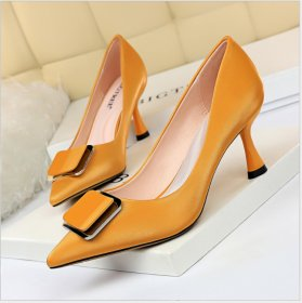 European and American style high-heeled wine cup with shallow pointed metal belt buckle professional OL high-heeled women's single shoes