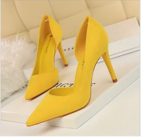 Fashionable simple high-heeled suede, shallow, pointed, sexy, thin-sided hollow-out single-heeled women's high-heeled shoes