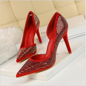 Fashionable Sexy Night Shop Slender High Heel Side Hollow Suede Shallow Point Metal Sequined Single Shoes