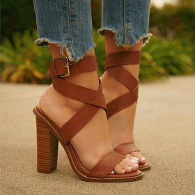 Sweet open-toed sandals with shallow buckles and thick heels for ladies