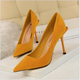 Fashionable, sexy, slim, slim-heeled, high-heeled, suede, shallow, pointed, high-heeled women's shoes, single shoes