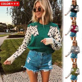 Knitted long-sleeved Pullover woolen sweater with explosive arm Leopard Pattern