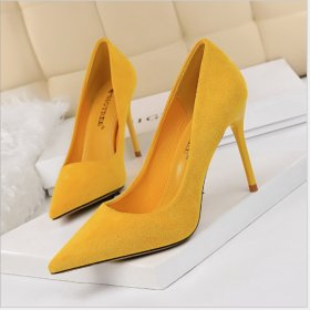 Fashion Simple High-heeled Suede Shoes with Short Mouth and Point High-heeled Women's Shoes Sexy Slim Single Shoes