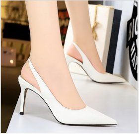Simple, high heel, shallow, pointed, sexy and slim professional OL back strap hollow single shoe for women