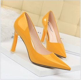 Fashionable slim high-heeled shoes transparent heel super high-heeled lacquer shallow pointed sexy single shoes
