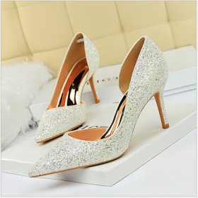 Sexy Slim Night Shop High-heeled Shoes Shallow Point Side Hollow Flash High-heeled Women's Single Shoes