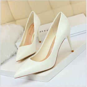 Fashion Simple Fine-heeled High-heeled Lacquered Women's Shoes Shallow-mouthed, Point-toed, Sexy Slim High-heeled Single Shoes