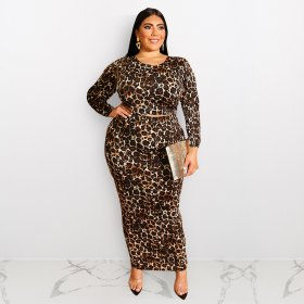 Leopard Print Long Sleeve fashion large size two sets