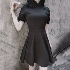 Diablo retro improved cheongsam dress Lolita high-waisted Lantern Sleeve wearing a small black dress