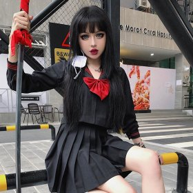 College style Cosplay shirt pleated skirt children dark Japanese JK uniform bad girl sailor clothes
