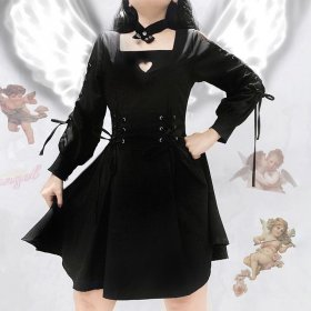 Diablo funeral dress with necklace, hollow sexy tie, waist and long sleeves