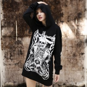 Print Grunge Gothic sweatshirt Women Harajuku Vintage Punk Autumn 2019 Female Hoodies Longesleeve Aesthetic Fashion