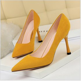 Euro-American fashion simple super high heel suede, shallow mouth, pointed sexy nightclub slim high heel shoes