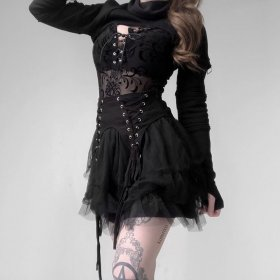 Dark Gothic Rock Heavy Metal Ultra Short Spliced Long Sleeve Guard Bf Sexy Night Club Blouse