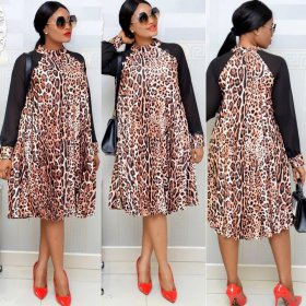 Leopard pattern stitching screen long sleeve commuter fat mother dress