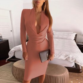 Sexy Deep V Long Sleeve Buttock Lady's Dress
