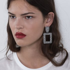 Geometric Alloy Inserted Drill Earrings Euro-American Retro Creative Full Drill Earrings