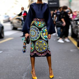 Retro-printed long-sleeved suit skirt