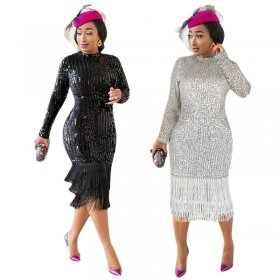 Fringed dress with high elastic sequins