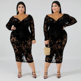 Large size V-breast long sleeve flocking dress