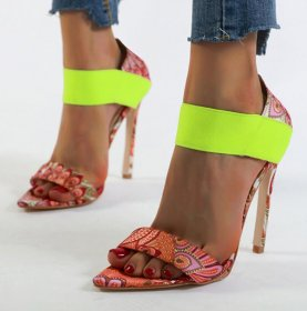 Phoenix-striped pointed sandals with large size and color matching