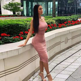 Sexy fashionable single shoulder folded hip dress