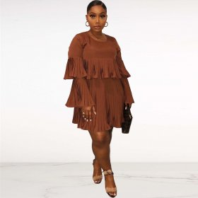 Sexy long sleeve loose Pleated Dress
