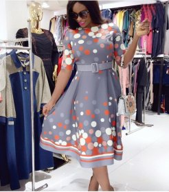 Multicolored Point Printed Commuter Size Dresses