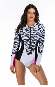 Surfing suit conjoined long-sleeved women's swimsuit hot spring swimsuit diving suit manufacturer sells Onihua directly